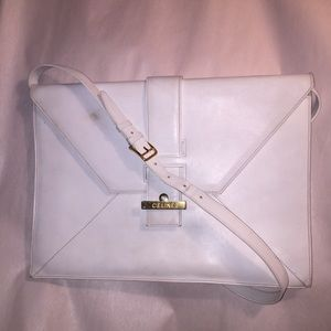 vintage auth CÉLINE white calfskin DIAMOND clutch